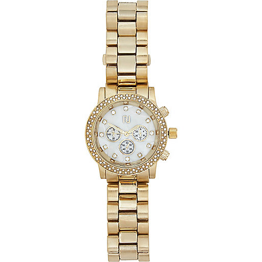 Gold tone diamante bracelet watch