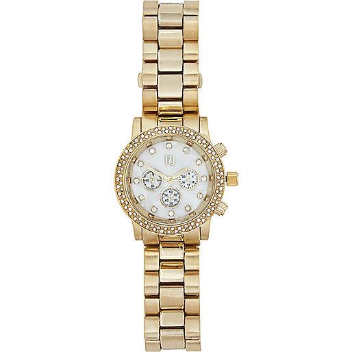 Gold tone diamante bracelet watch