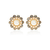 Cream faux pearl surround stud earrings