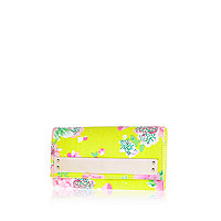 Yellow floral print metal plate purse