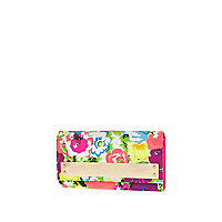 Pink floral print metal bar purse
