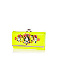 Yellow gem stone embellished purse