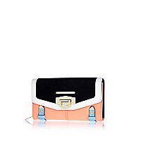 Coral colour block flip lock purse