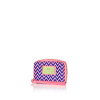 Pink zig zag mini zip around purse
