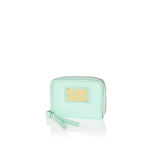 Light green mini zip around purse