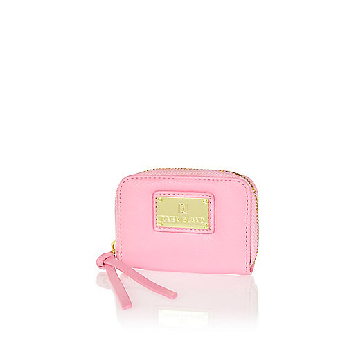 Light pink mini zip around purse