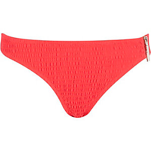 Red shirred bikini bottoms
