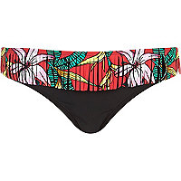 Black tropical print fringed bikini bottoms