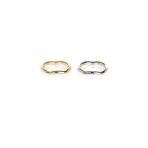 Gold and silver tone wavy thumb ring pack