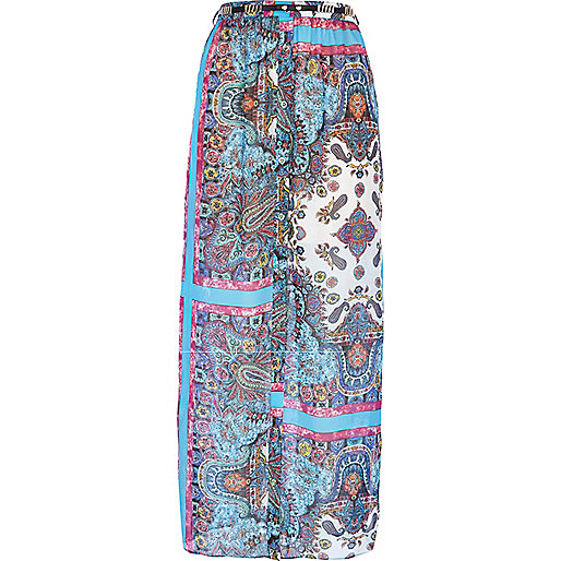 Blue paisley border print maxi skirt