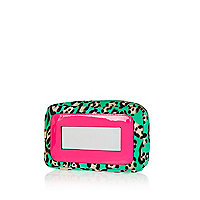 Turquoise leopard print mirror make up bag