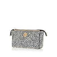 Beige leopard print make up bag