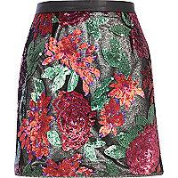 Black flower embellished skirt