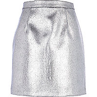 Silver leather-look high waisted A line skirt