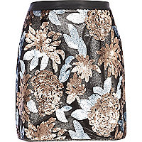 Black metallic flower embellished skirt