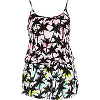 Pink palm tree print cami playsuit