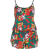 Red Hawaiian print cami playsuit
