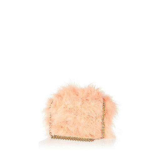Orange Marabou feather cross body bag