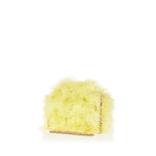 Yellow Marabou feather cross body bag