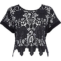Black wet look lace crop top