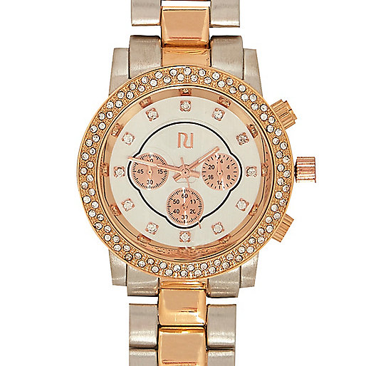 Mixed metal diamante bracelet watch