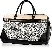 Beige leopard print panel weekend bag