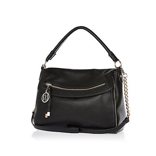 Black fold over slouch bag