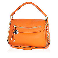 Orange fold over slouch bag