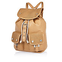 Brown textured rucksack