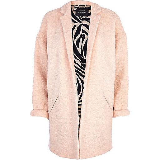 Light pink boucle oversized coat