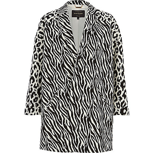 Black and white animal print oversized coat