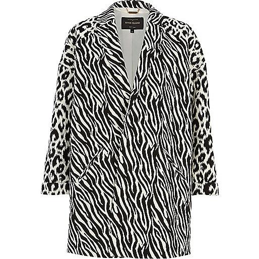 Black and white animal print oversized coat