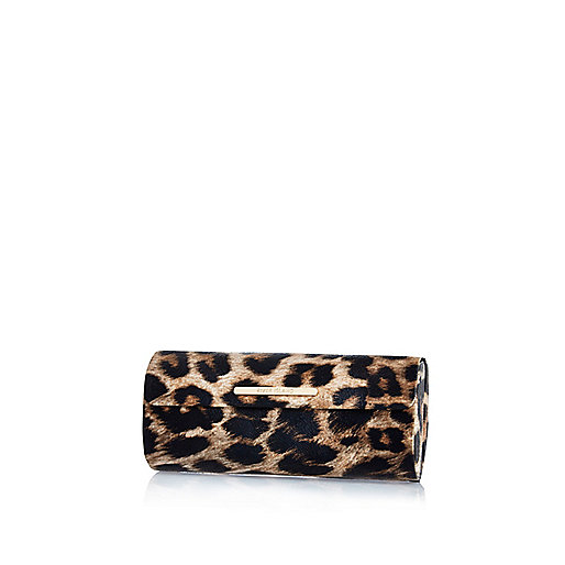 Brown leopard print hard sunglasses case