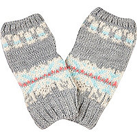 Grey fair isle fingerless mittens
