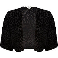 Black leopard print devore shrug