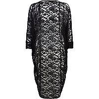 Black lace longline shrug