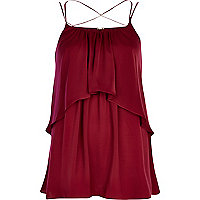 Dark red double layer cami top