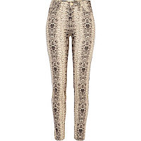 Beige snake print Molly jeggings