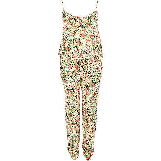 Green floral print jumpsuit