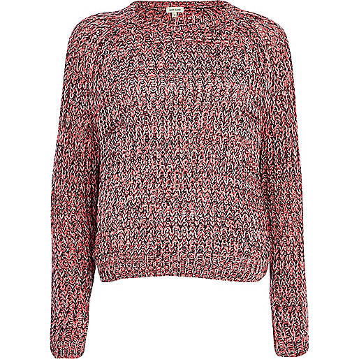Pink twist knit crop jumper