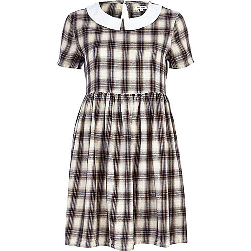Grey check contrast collar tea dress
