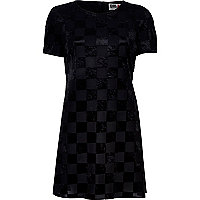 Black Chelsea Girl checkerboard t-shirt dress