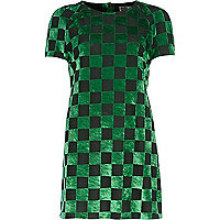 Green Chelsea Girl checkerboard t-shirt dress