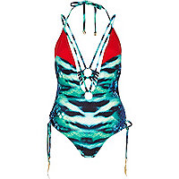 Green Katie Eary lizard print swimsuit
