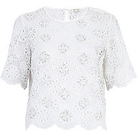 White burnout flower embellished top