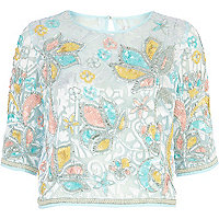 Light blue floral embellished crop top