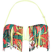 Lime tropical print fringed bikini top