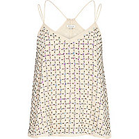 Cream embellished swing cami top