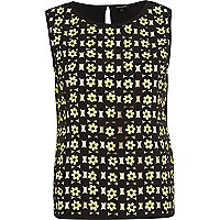 Black 3D flower tank top