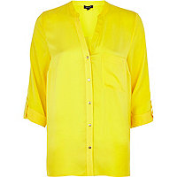 Yellow silky roll sleeve shirt